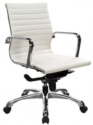 Nova Mid Back White Leather Desk Chair