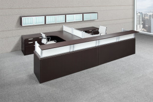 Performance Laminate and Glass Panel Double Reception Desk